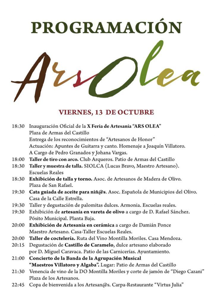 programa X edición de la feria Artesanal 'Ars Olea' viernes 13 de octubre