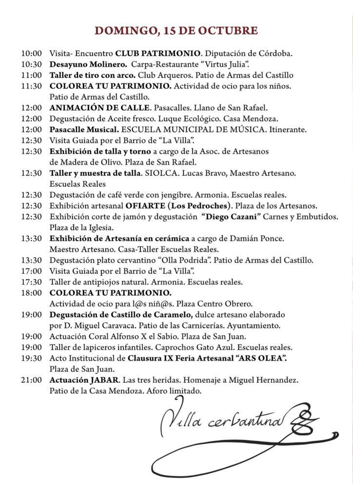 programa X edición de la feria Artesanal 'Ars Olea' Domingo 15 de octubre